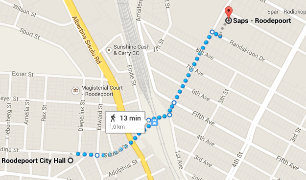 route for March Against Crime 20 March